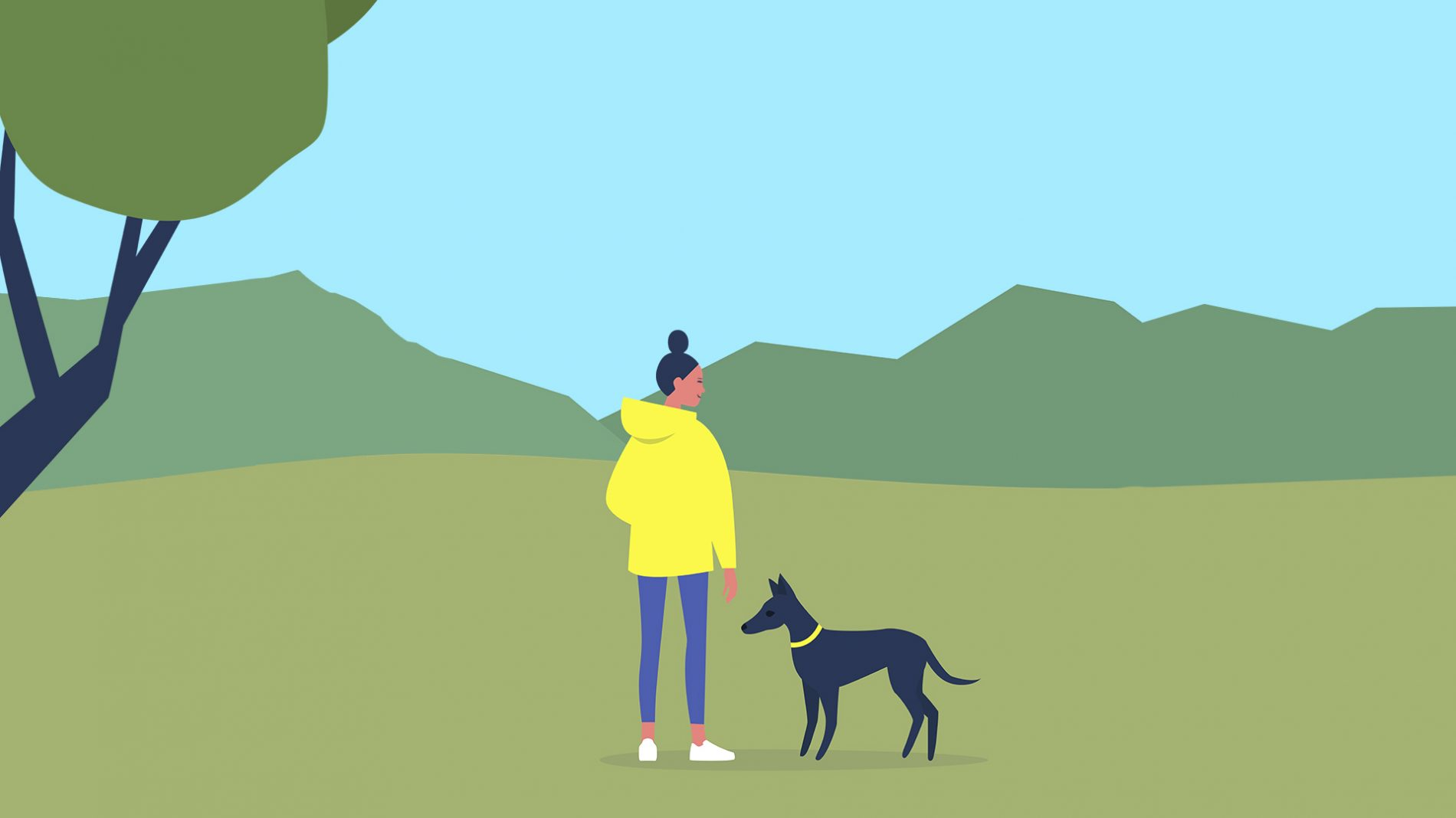 Illustration of a woman standing in a park with a dog