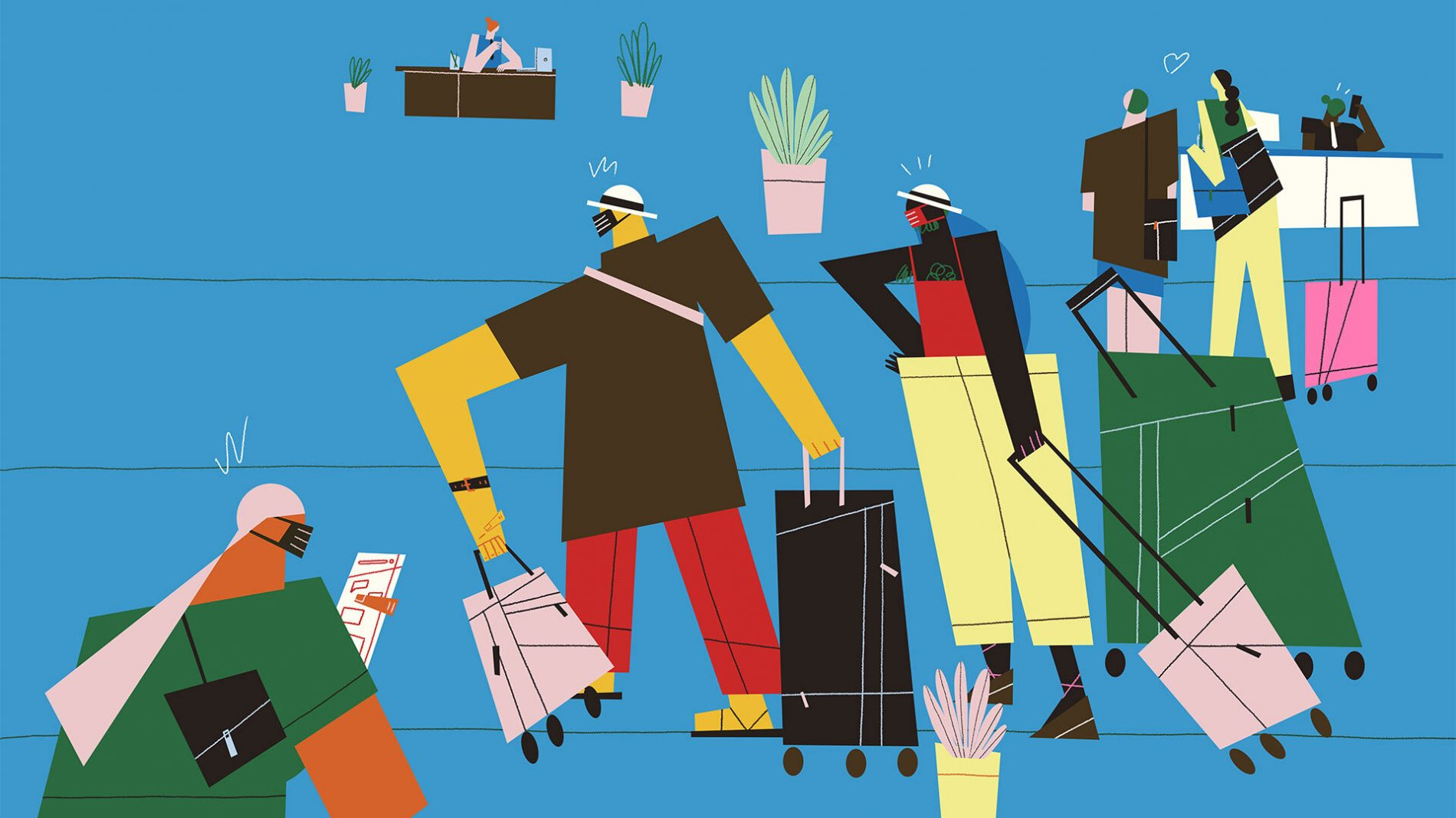 Illustration of people wearing masks waiting in an airport with suitcases