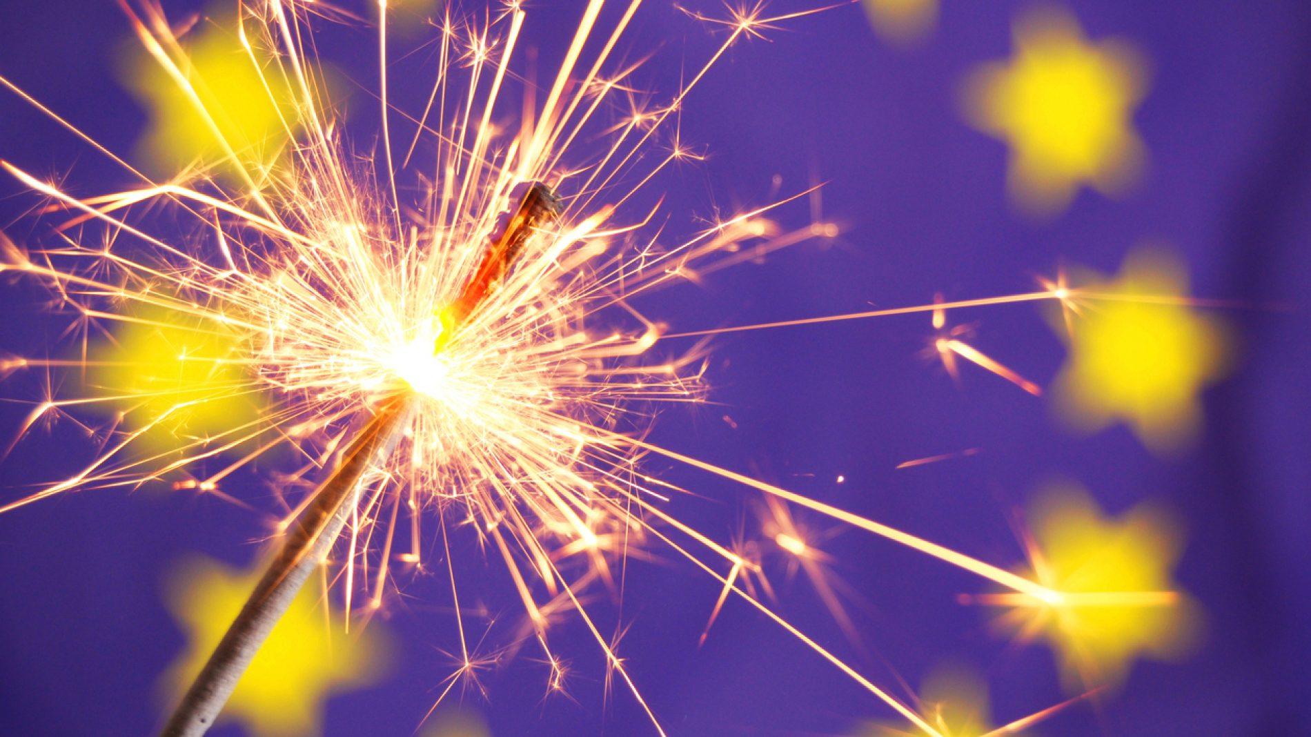 EU Flag and sparkler