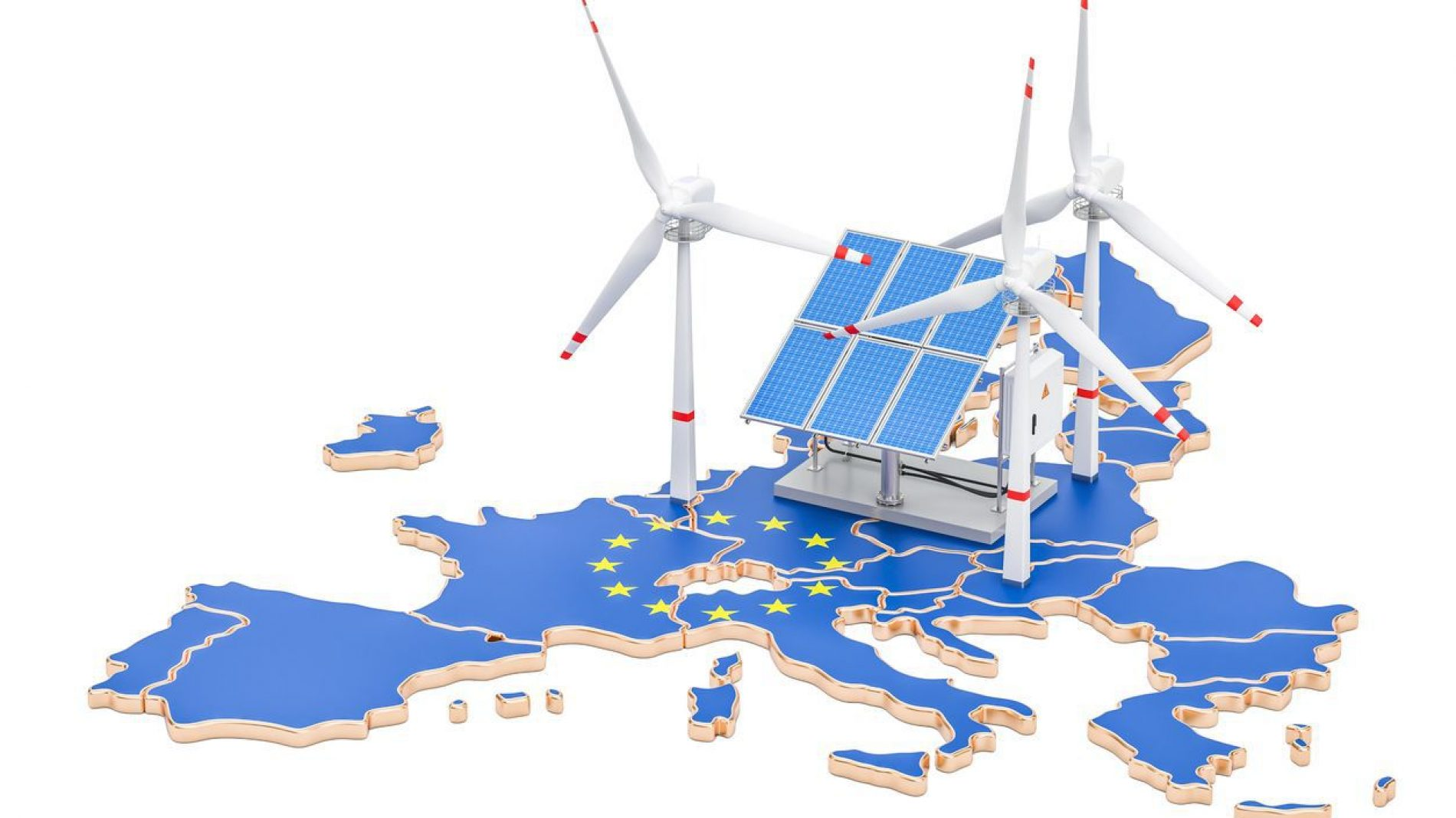 European map with renewable energy sources