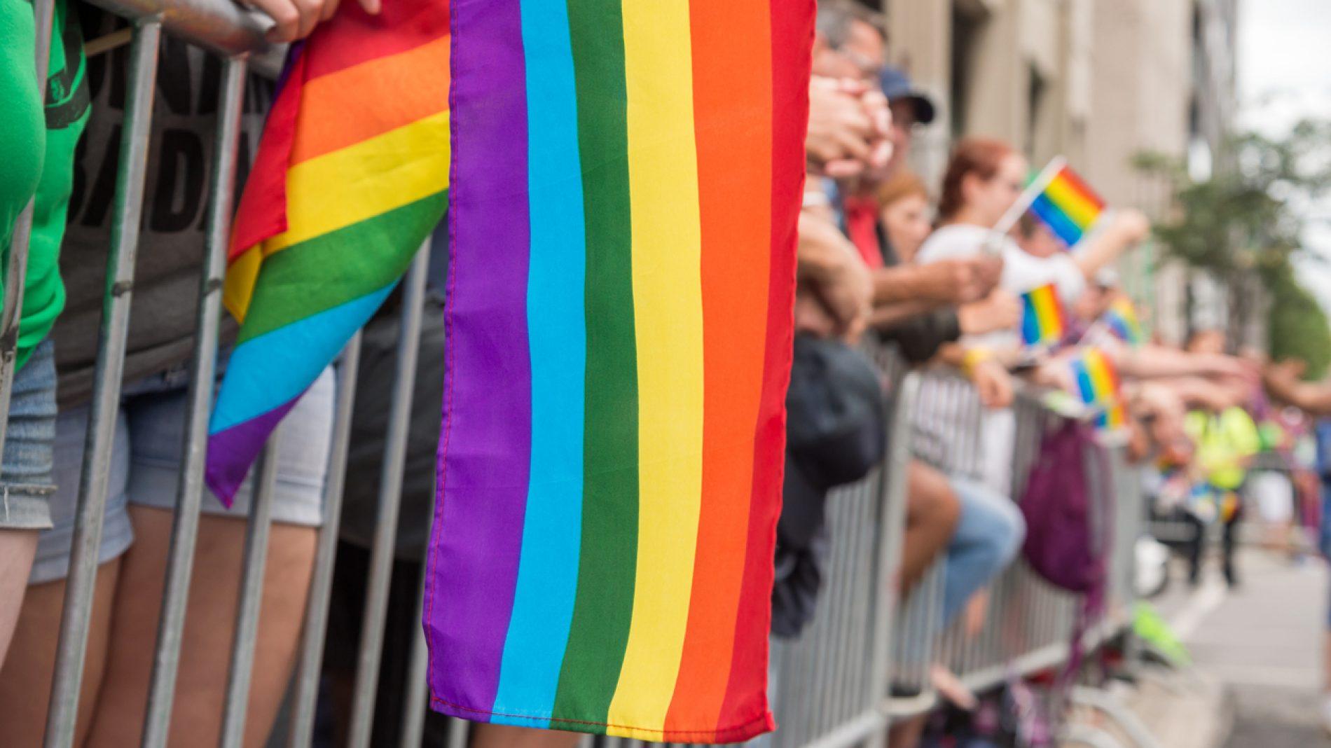 Gay rainbow flags at Montreal gay pride parade