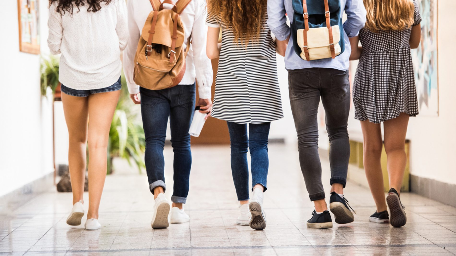 Group of students walking together