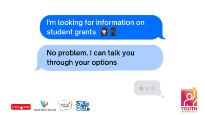 A young person asking for help with their SUSI grant over the YIChat