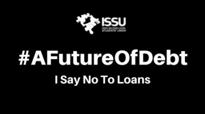 Picture that says #AFutureOfDebt, I say no to loans