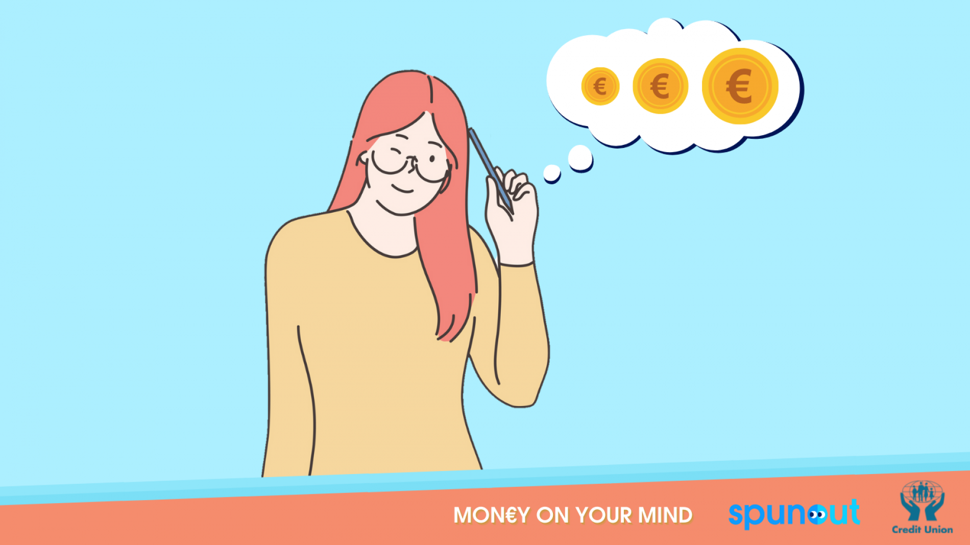 Illustration of a person with a thought bubble thinking about money