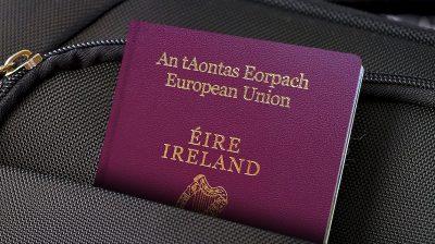 A close-up image of an Irish passport