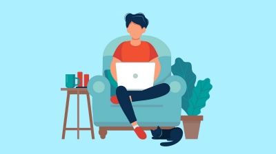 Illustration of a person sitting on a couch with a laptop on their knee