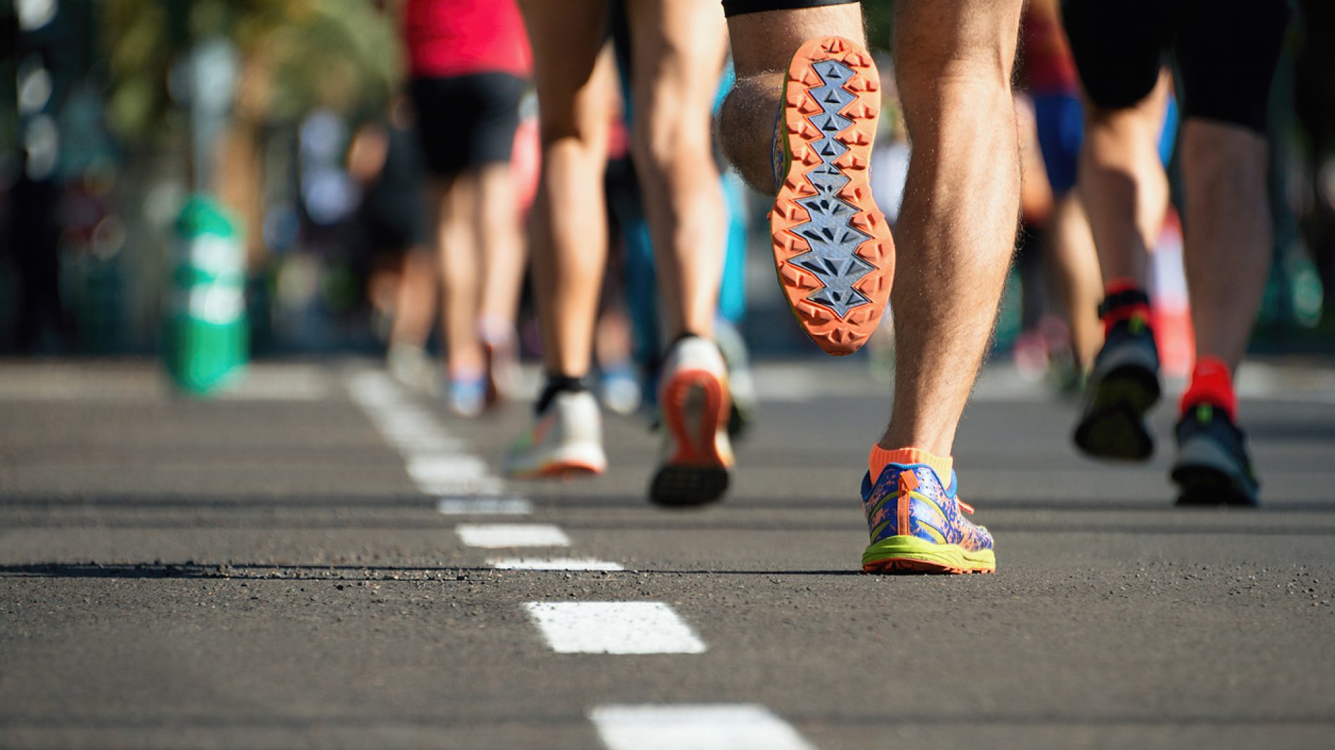 Close up of marathon runners' feet
