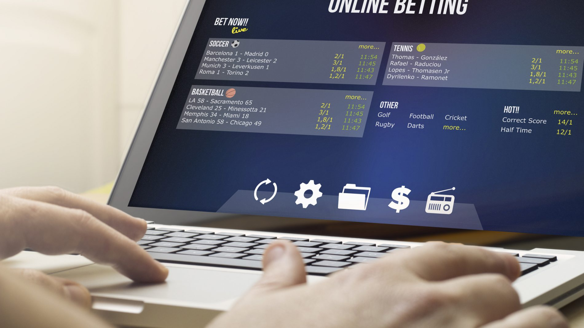 betting online on a laptop