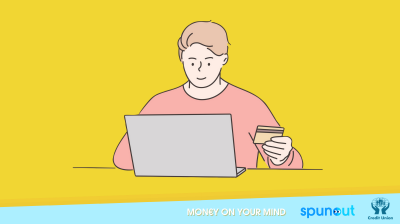 Illustration of a person at a laptop with their bank card in one hand