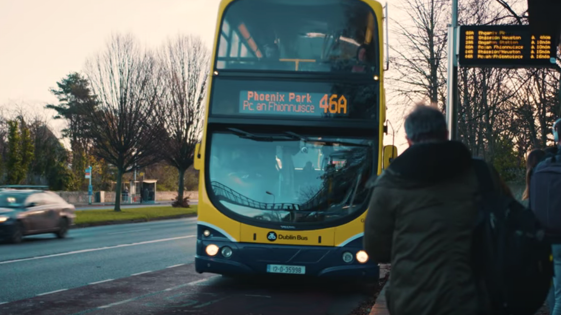 A Dublin Bus pulling in at a stop