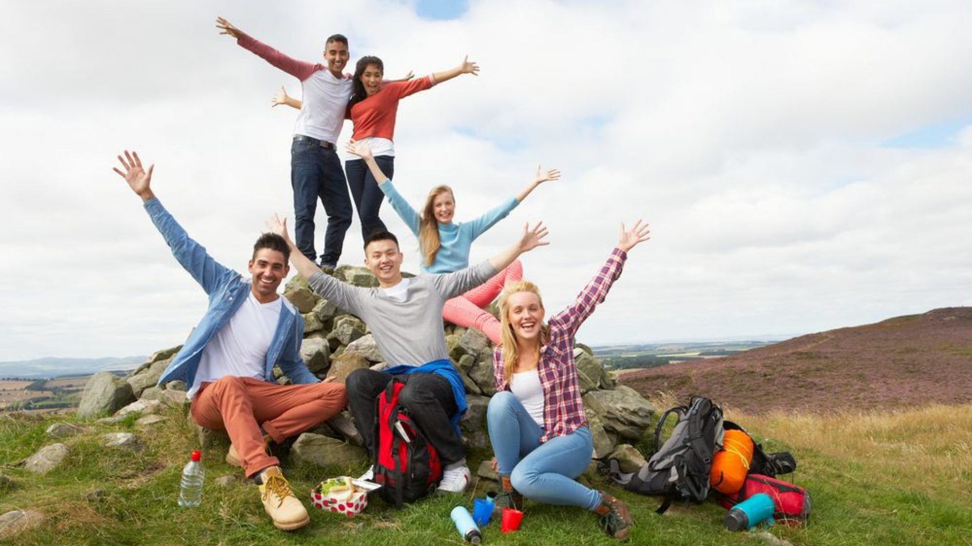 Group of young people on a trip
