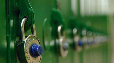 Close up of padlocks on lockers.