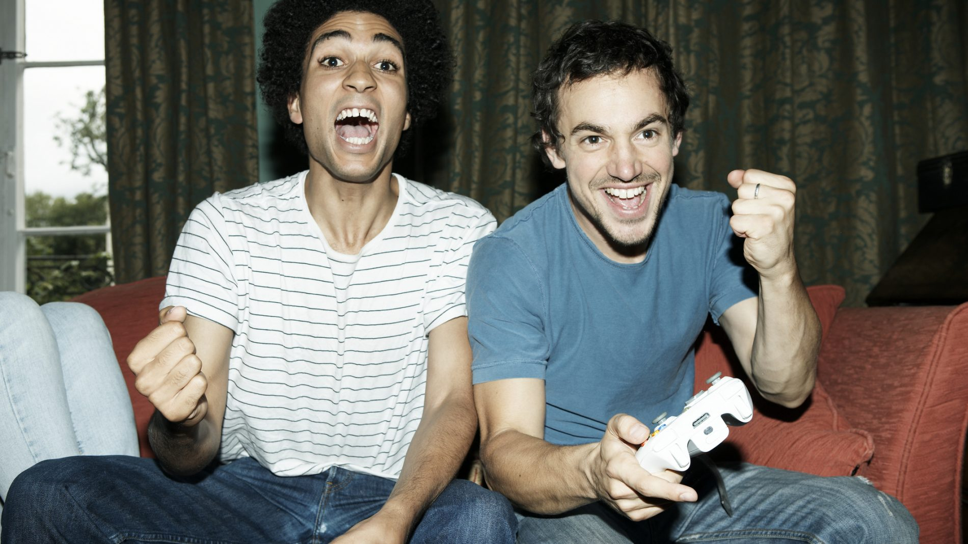 two men playing video games