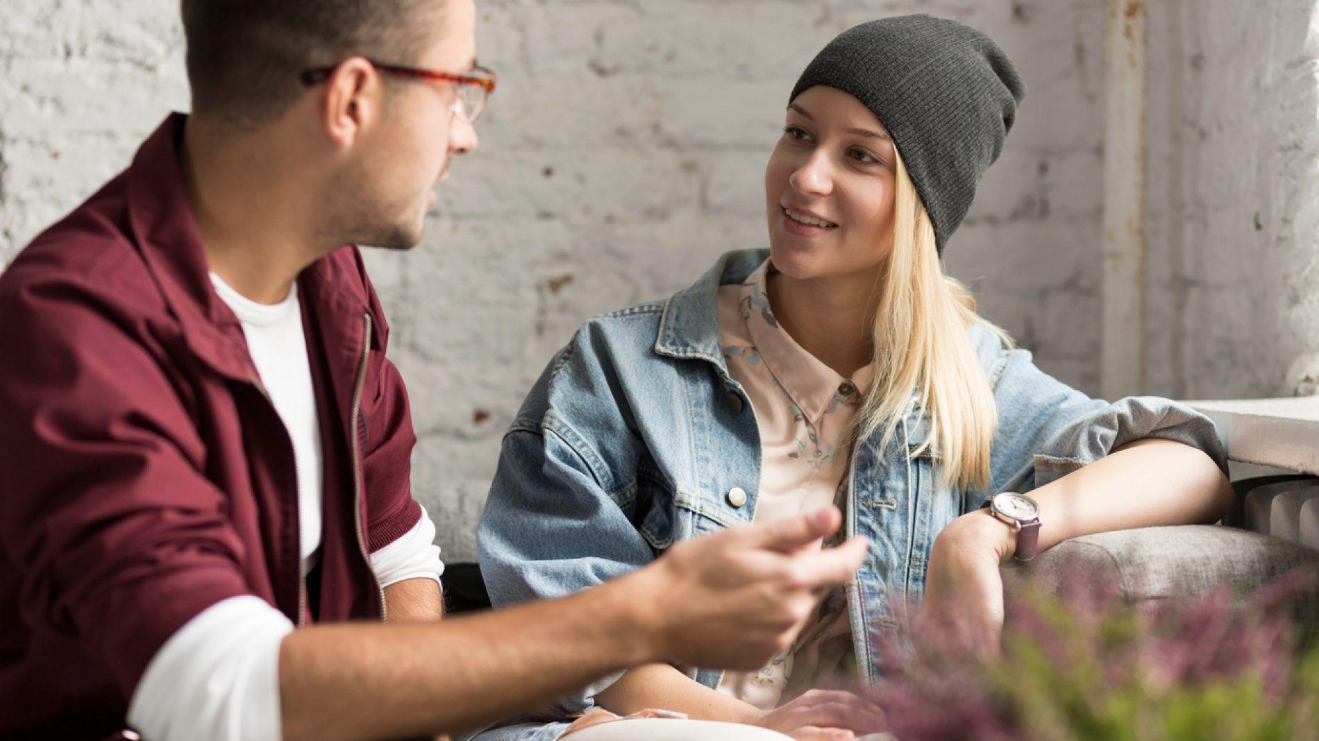 Talking in cafe