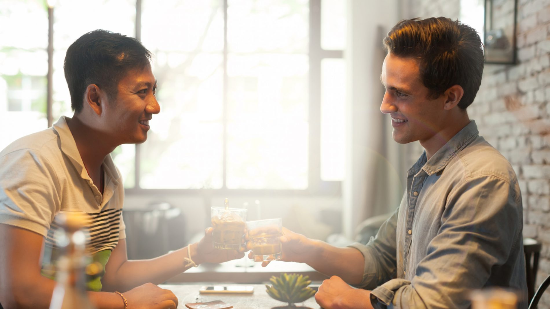 Two Men Cheers Toast Drink, Friends Guys Happy Smile