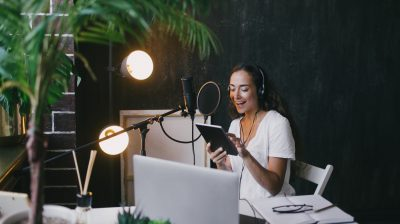 Young person podcasting while at home
