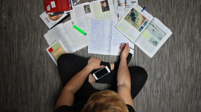 Young person studying for the Leaving Cert at home
