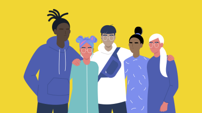 Illustration of a group of people standing together