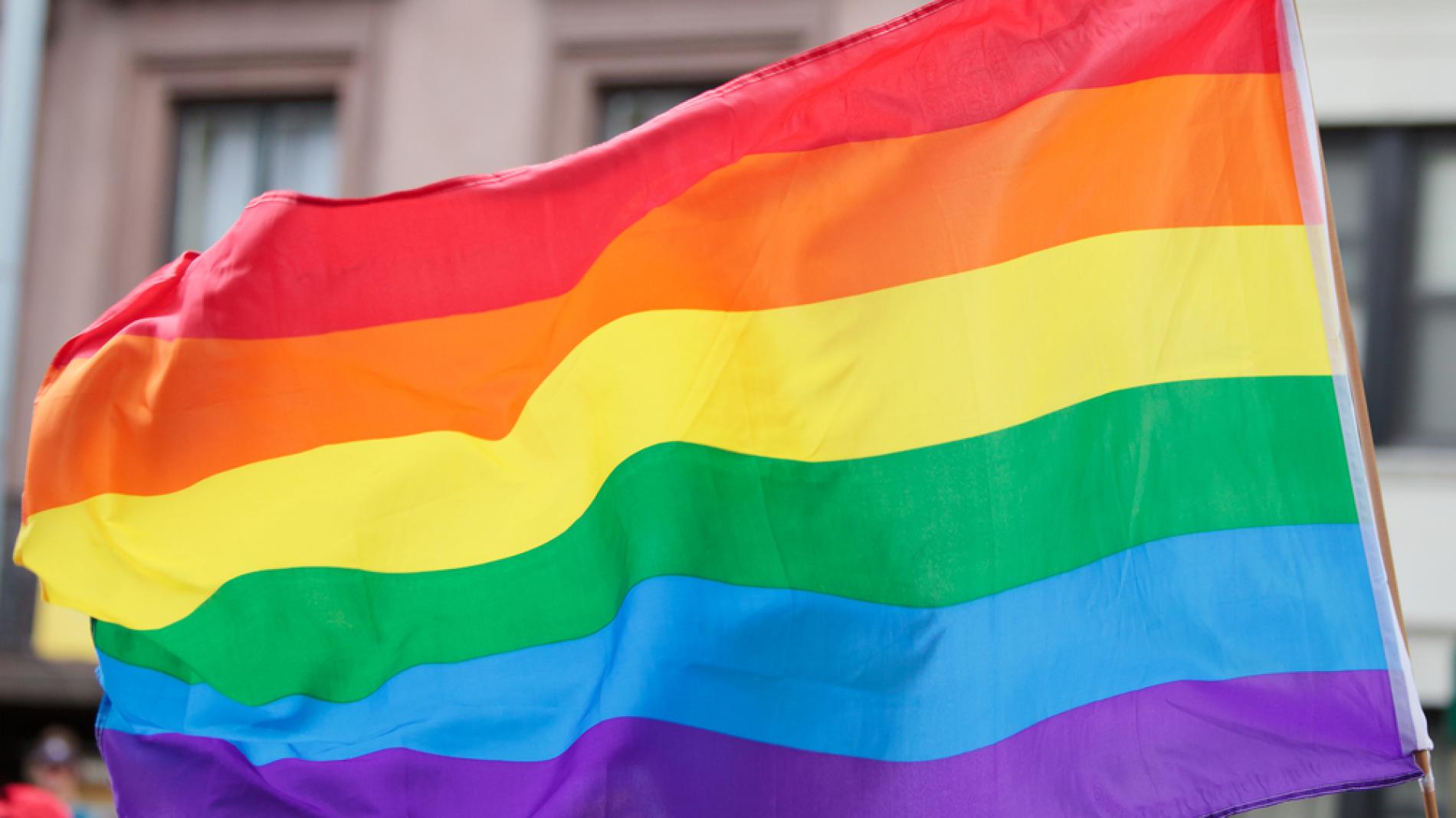 Group holding large pride flag