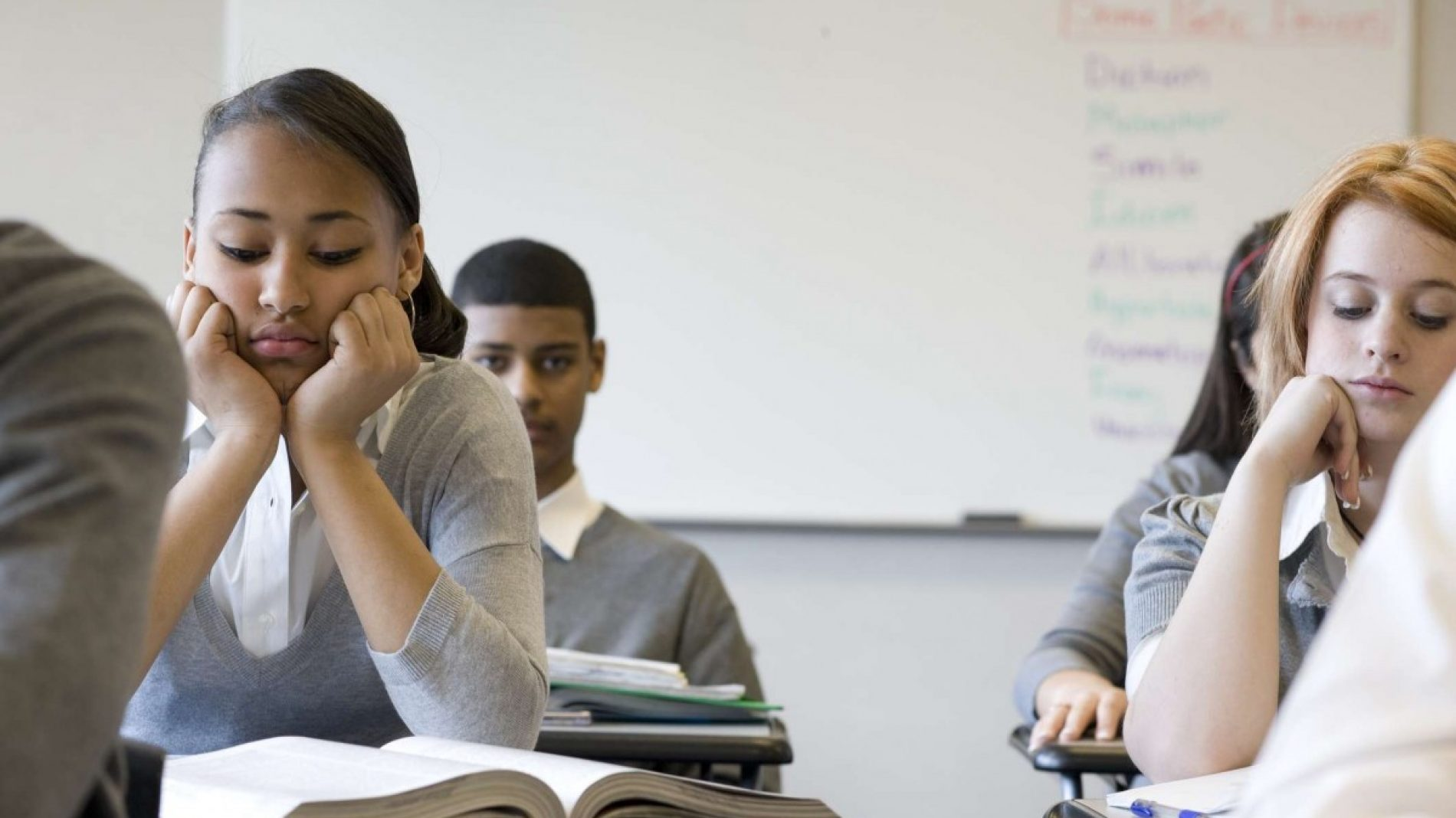Students looking bored in class