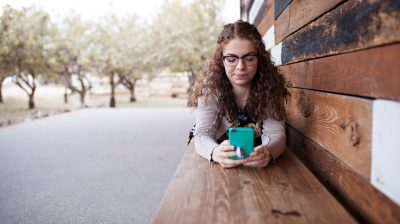 Teenager alone with a phone