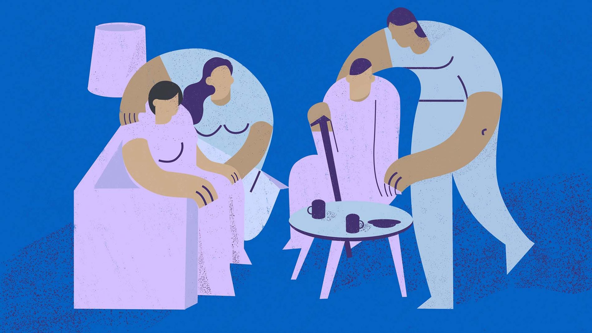 Illustration of carers looking after patients - carers allowance
