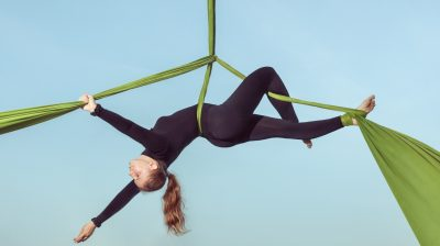Woman air equilibrist.