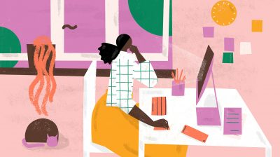 Illustration of a person at a desk writing a cover letter
