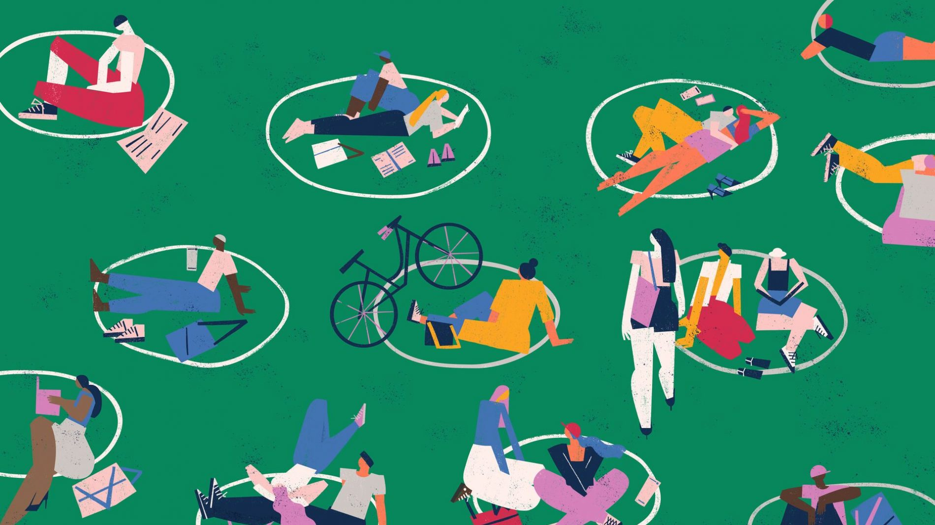 illustration of individuals and small groups of people sitting and lying on the grass following covid19 social distancing guidelines