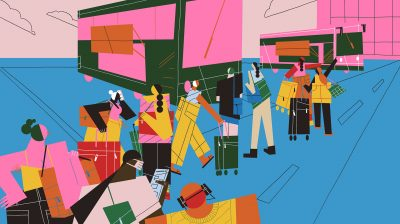illustration of a group of people outside with suitcases as they wait for a flight - covid19 travel restrictions