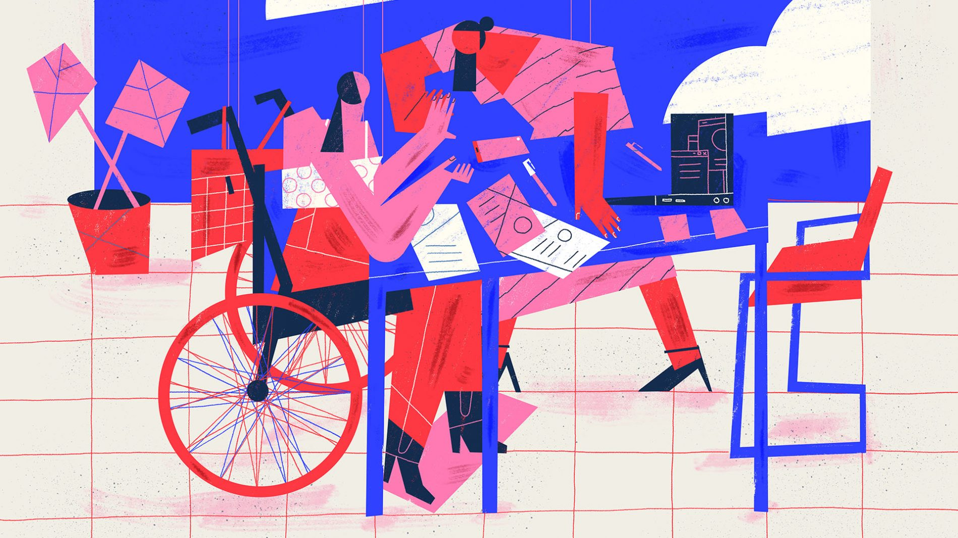 illustration of a person in a wheelchair working at a desk - employment support of people with disabilities
