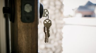 A set of keys hanging from a door - eviction