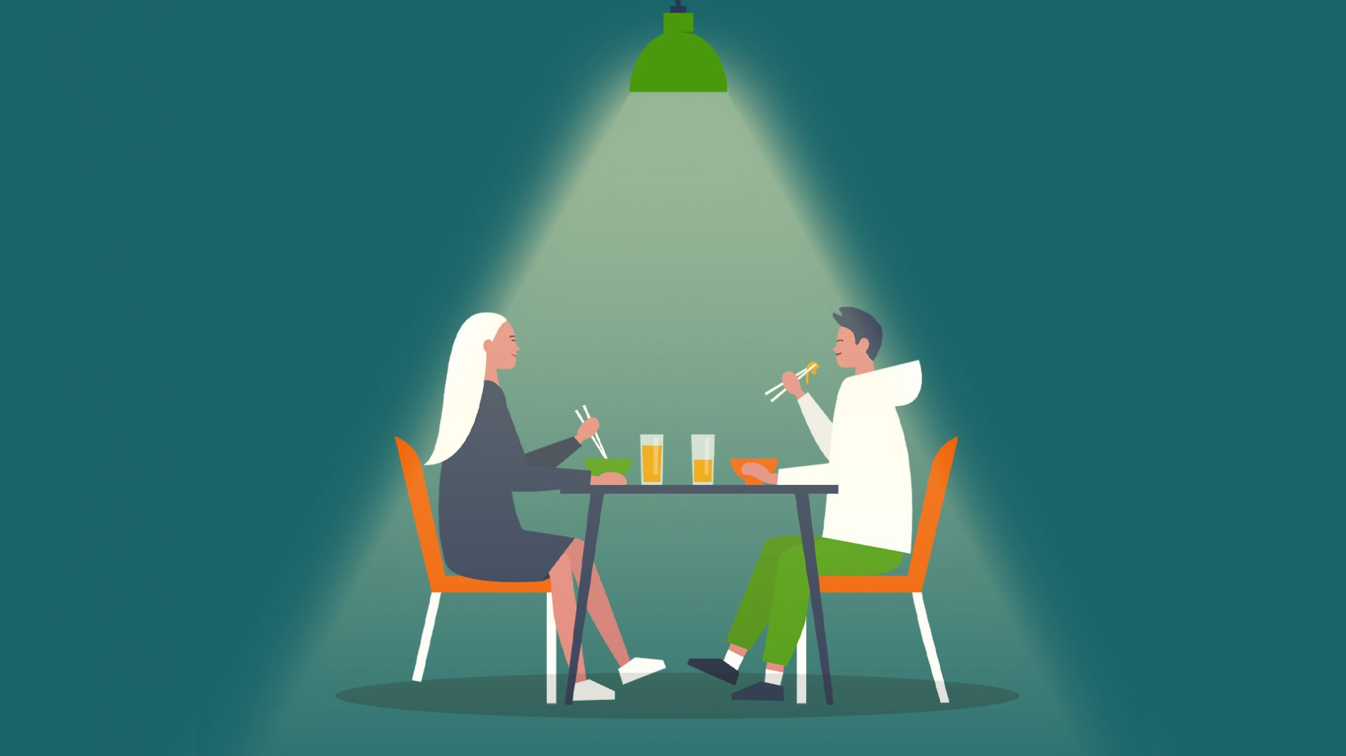 Illustration of two people sitting at a table having food and drinks together