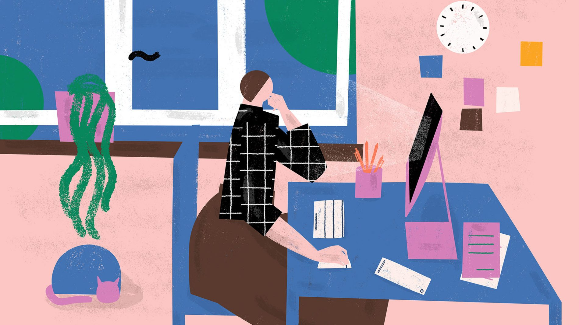 Illustration of a person sitting at a desk freelancing