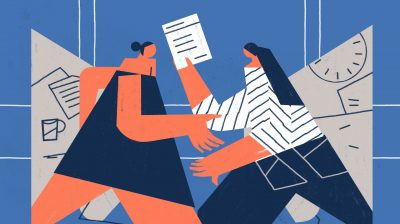Illustration of a person handing a cv or resume to someone else