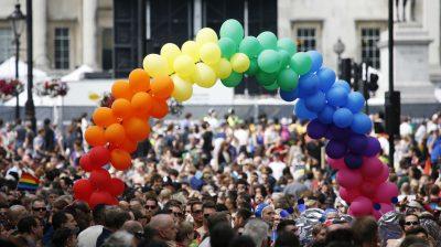Rainbow balloons at a pride parade