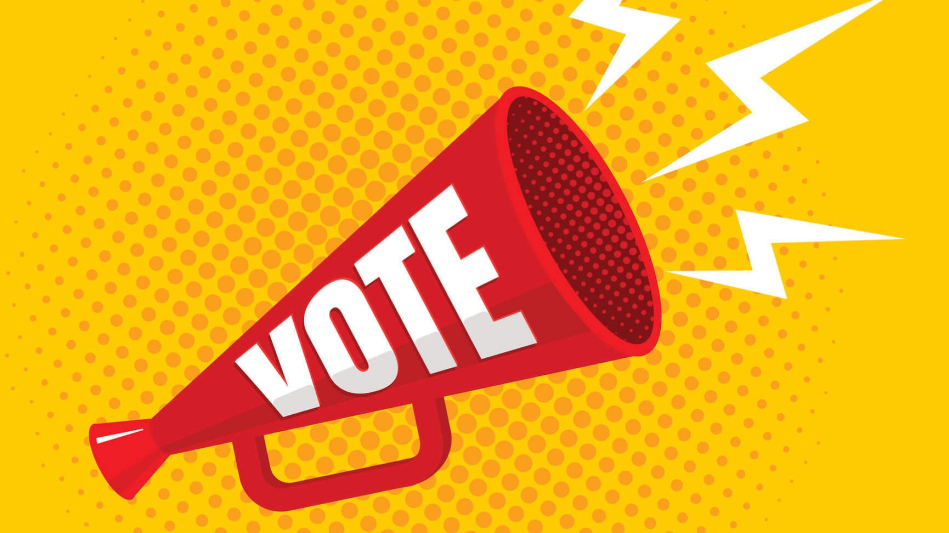 Megaphone with vote written on it against a yellow background