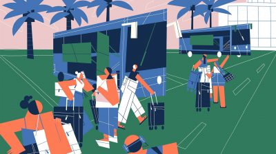 Illustration of a group of travellers at a train station interrailing