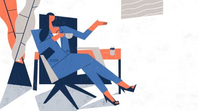 Illustration of a businesswoman asking interview questions