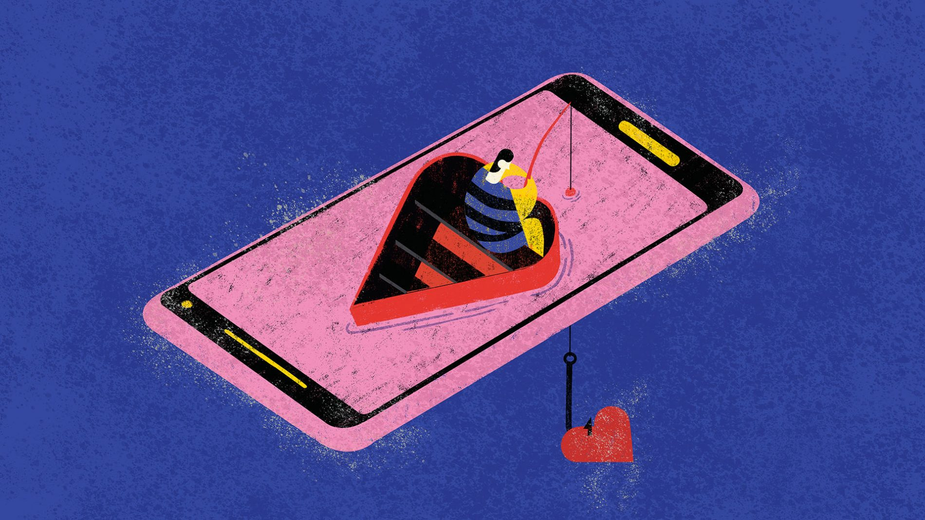 Illustration of a person sitting on a giant mobile phone fishing for a heart - lonely online