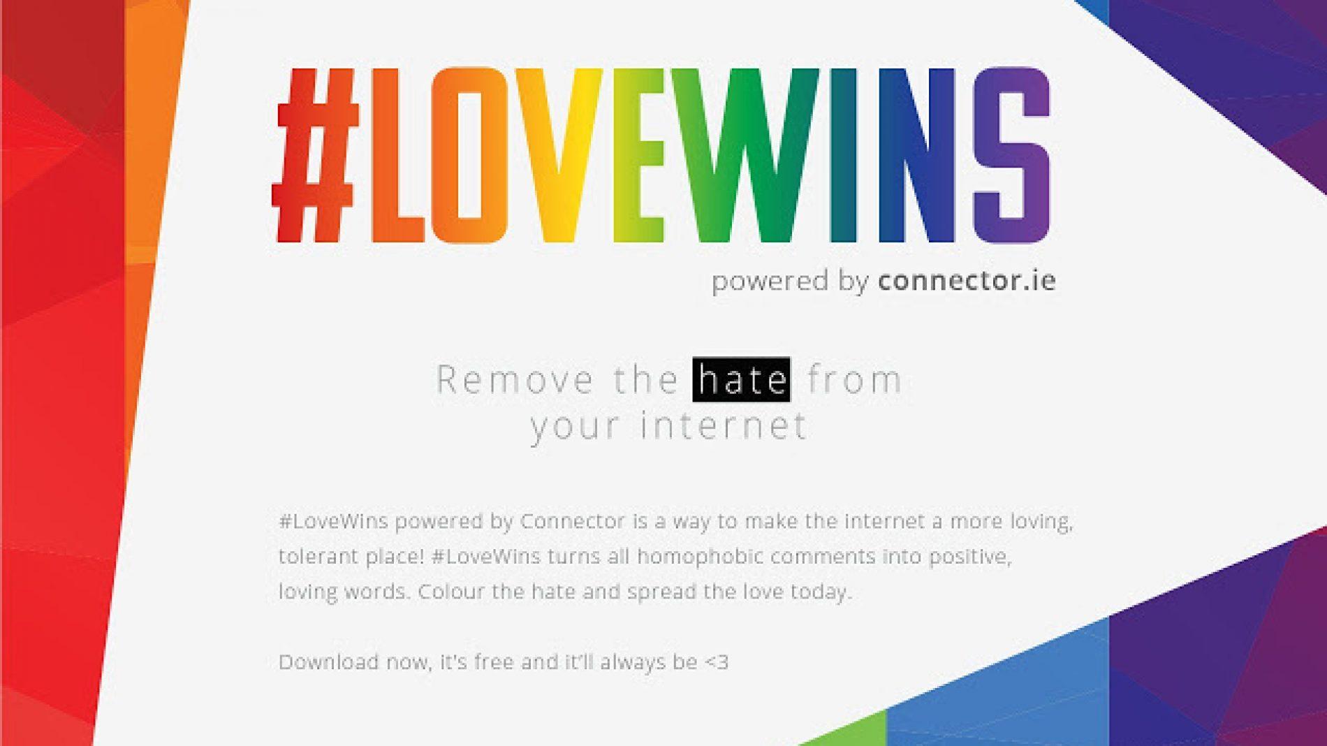 #LoveWins written in pride colours