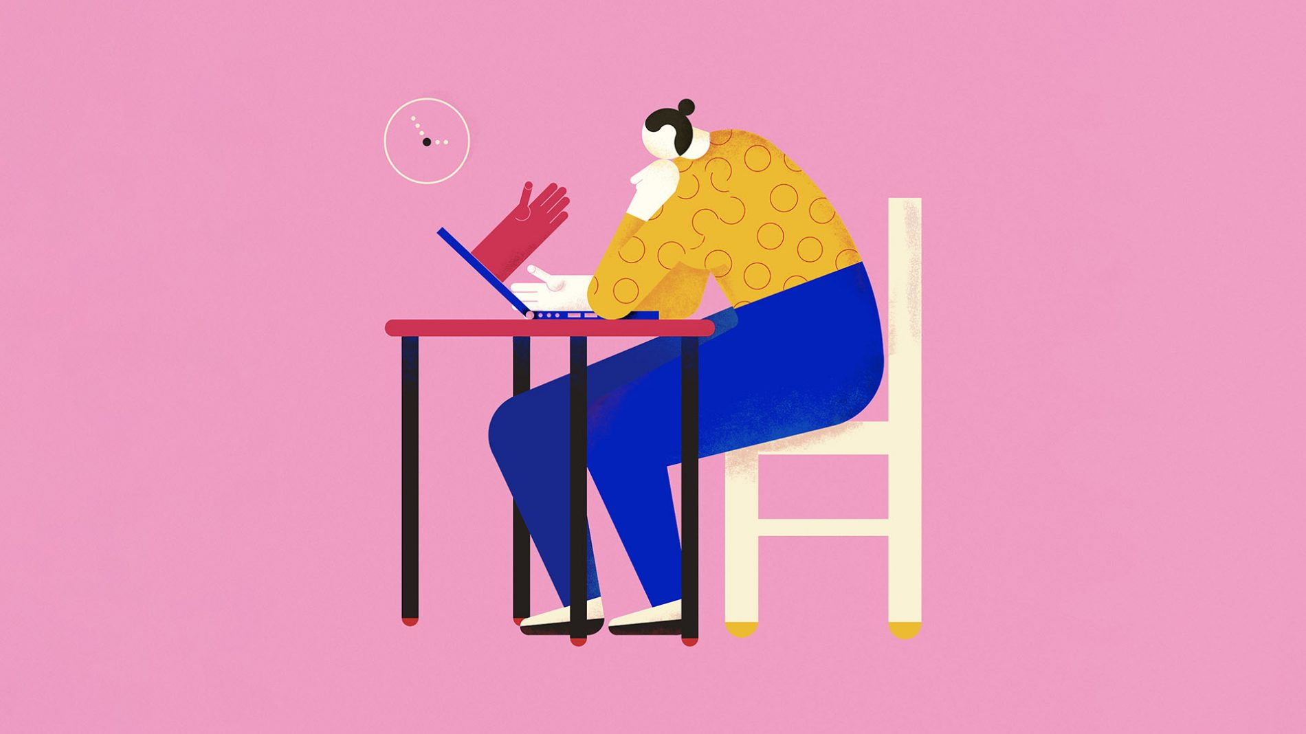 Illustration of a person sitting at a desk and on their laptop with a hand coming out of the screen towards theirs - mental health treatment