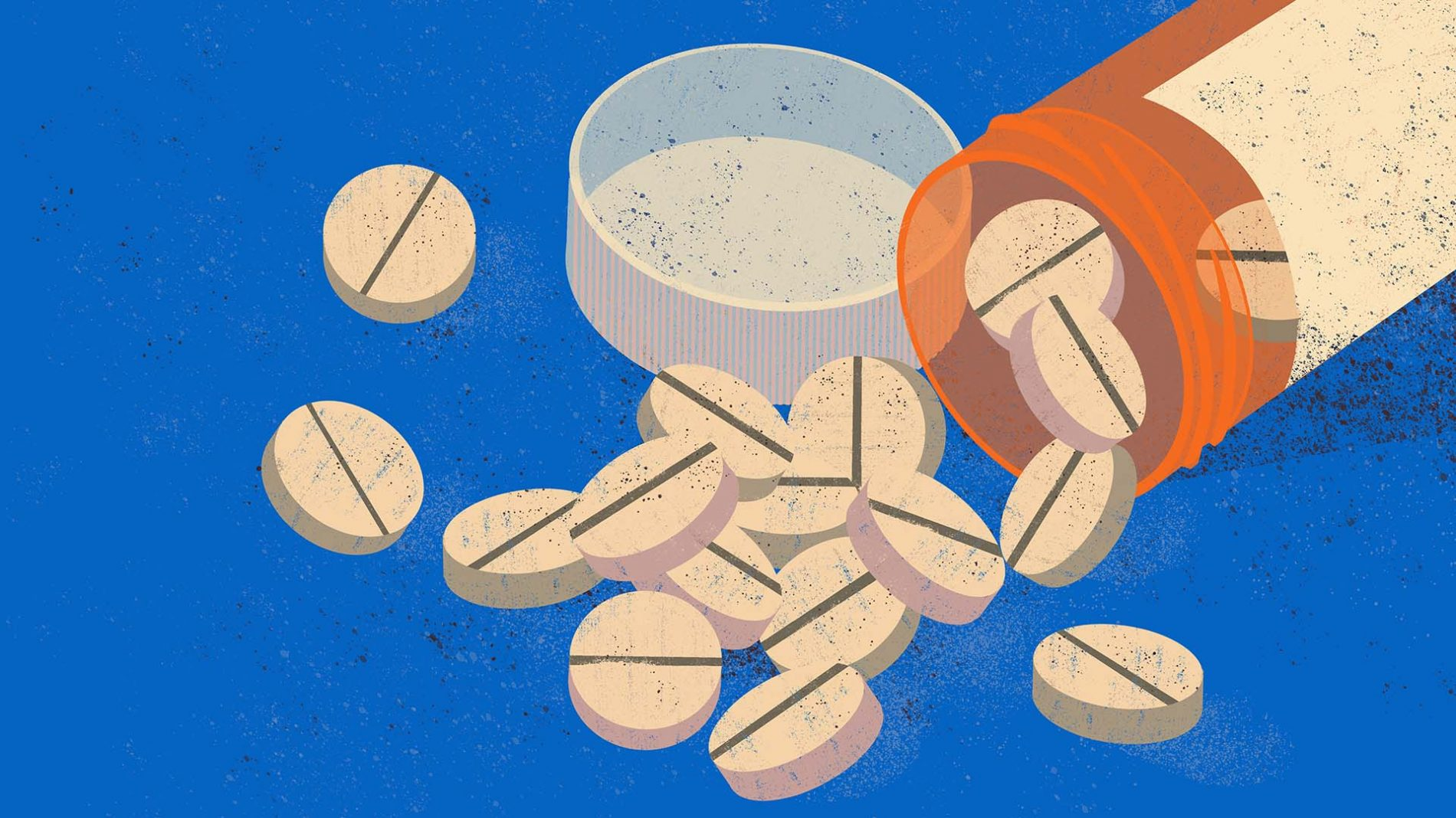 A prescription medication bottle with pills spilling out
