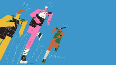 Illustration of three people running