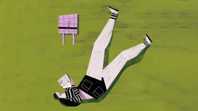 Illustration of a person lying on the grass reading a book - living with self-harm scars