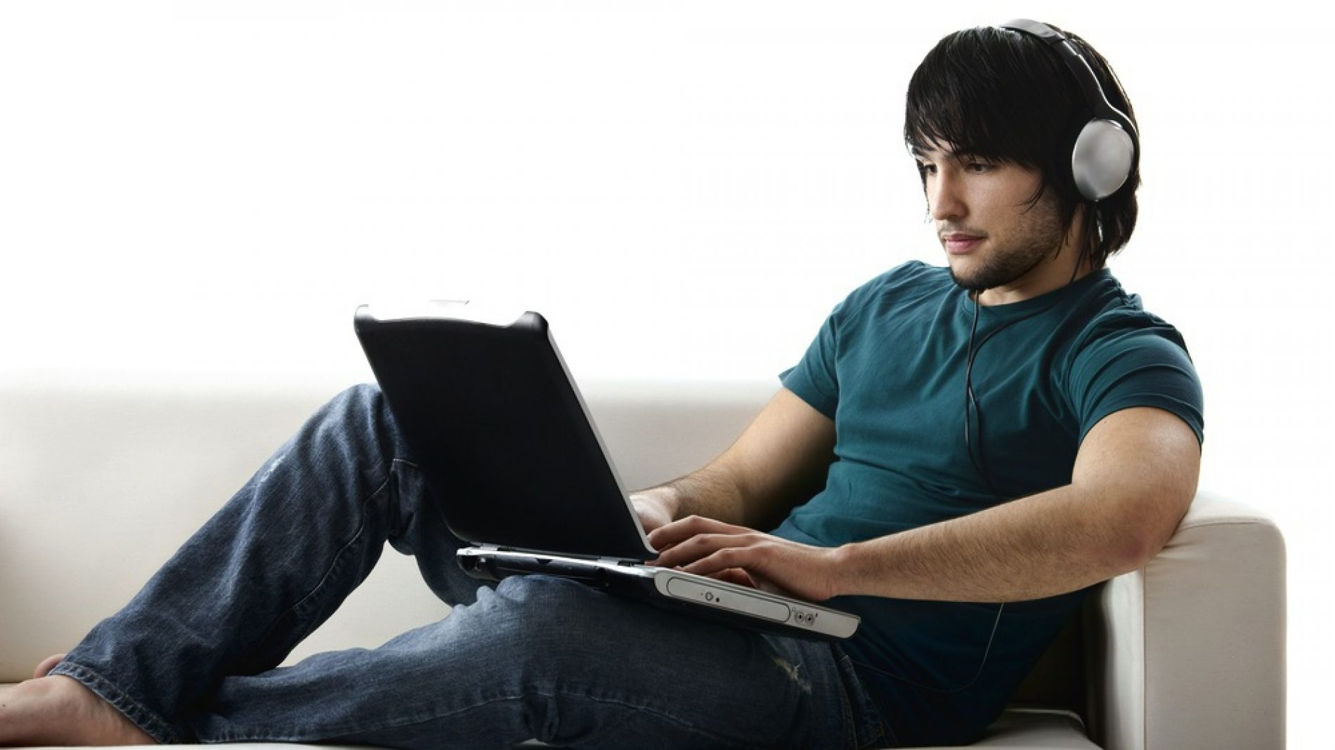 young man on his computer