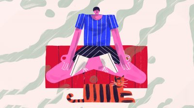 Illustration of a person sitting cross-legged on a rug while meditating with a cat beside them - dealing with stress