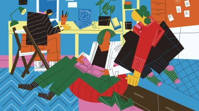 illustration of three people working and relaxing in an office - summer job