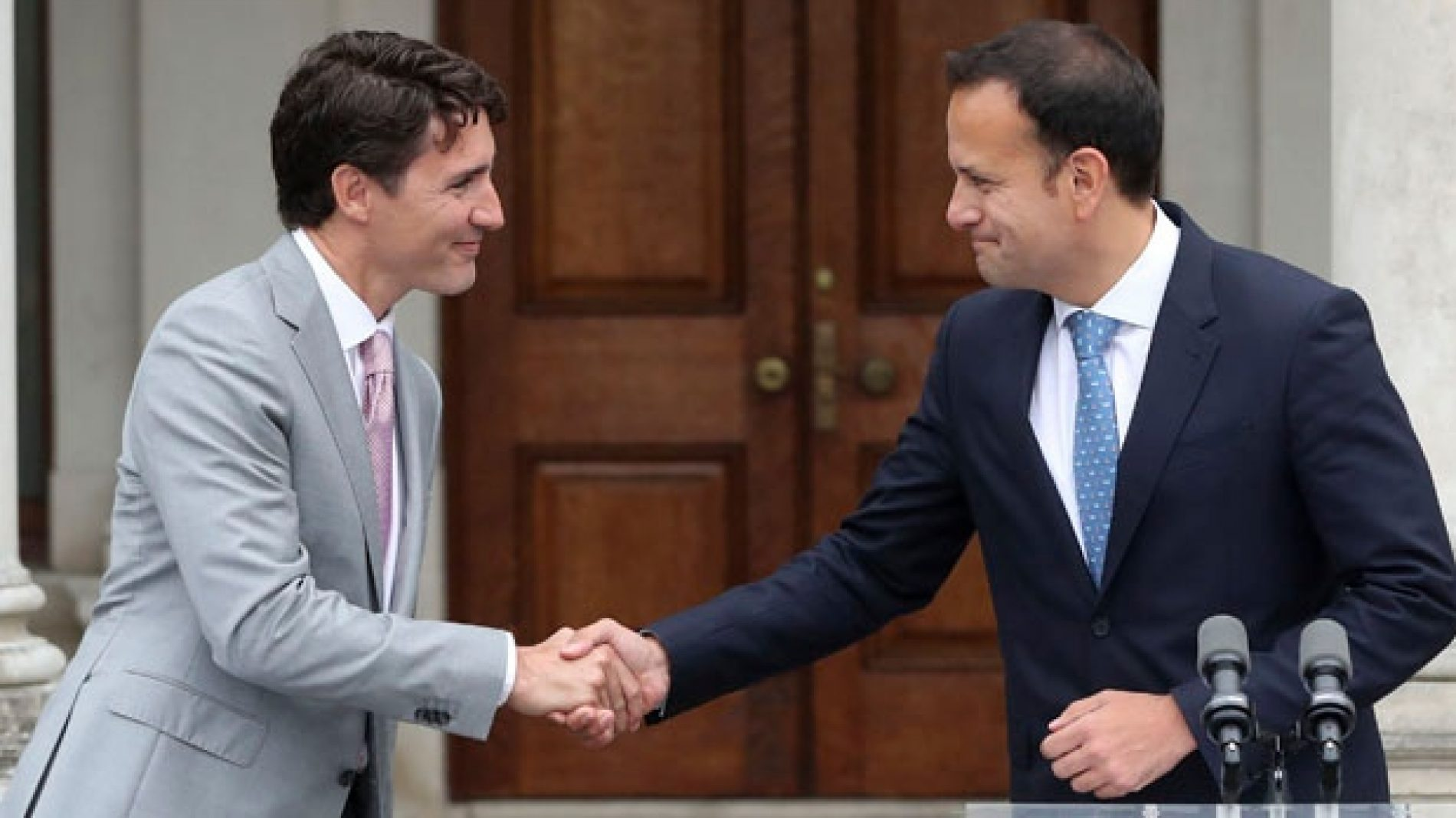 Canadian prime minister Justin Trudeau shaking hands with Taoiseach Leo Varadkar